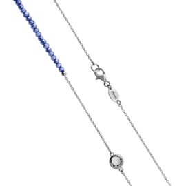 Zilverkleurige Schakel Ketting met Zachtblauwe Steentjes en Zirkonia's