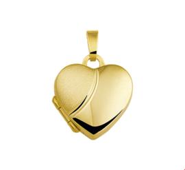 Hartvormig Foto Medaillon van Geelgoud met Gepolijst en Mat Oppervlak