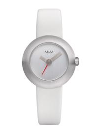 Zilverkleurige M&M Dames Horloge met Witte Lederen Horlogeband