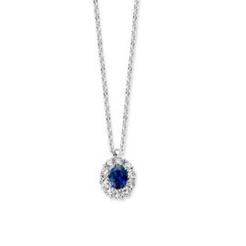 Excellent Jewelry Witgouden Collier met Saffier en Briljant Hanger