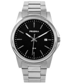 Elegante Heren Horloge van Zilverkleurig Edelstaal met Zwarte Wijzerplaat