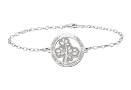 Zilveren Armband met Opengewerkte Basic Levensboom Naamhanger > Names4ever
