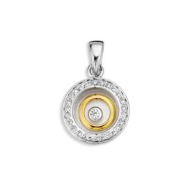 Excellent Jewelry Witgouden Hanger met Briljanten en Gouden Cirkel