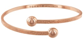 Gehamerde Roségoudkleurige Cuff Armband met Zirkonia's van Tommy Hilfiger