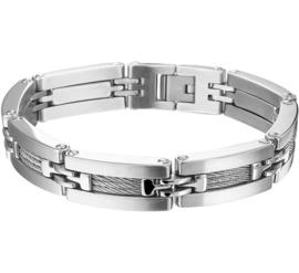 Edelstalen Schakel Armband met Kabel Decoratie