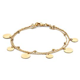 Excellent Jewelry Dubbel Geelgouden Armband met Ronde Plaatjes