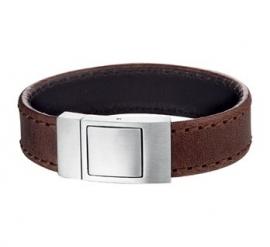 Brede Bruin Lederen Armband voor Heren - Graveer sieraad