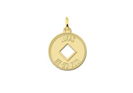 Names4ever Gouden Ronde Naamhanger met Opengewerkt Ruitje GMNH014