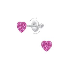 Zilveren Kinderoorbellen met Roze Zirkonia Hart + Schroefsluiting