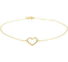 Gouden Hartje Armband Hart 0,8 mm 16 - 17 - 18 cm