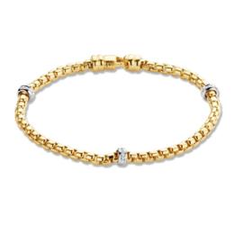 Excellent Jewelry Geelgouden Armband met Briljanten Schijfjes