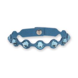 Dotty Tennis Lichtblauwe Lederen Armband met Swarovski Kristallen