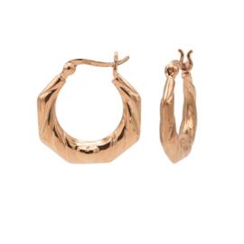 Roségoudkleurige Zeshoekige Oorringen   Karma Jewelry