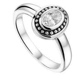 Zilveren Ring met Groot Zirkonia Kopstuk / Ringmaat 16,5