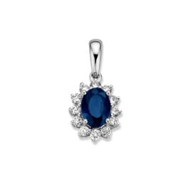 Excellent Jewelry Witgouden Hanger met Blauwe Saffier en Briljanten
