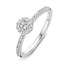 Excellent Jewelry Witgouden Ring met Briljanten en Kopstuk