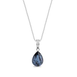 Classy Pear Ketting met Druppelvormig Blauwe Glaskristal