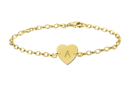 Gouden Armband met Hartvormige Letterhanger > Names4ever