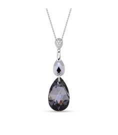 Spark Double Drop Ketting met Robuust Donkergrijs Glaskristal