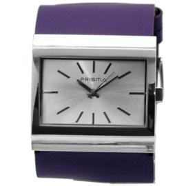 Prisma Rechthoekig Breed Dames Horloge met Paars Lederen Horlogeband