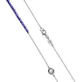 Zilverkleurige Schakel Ketting met Blauwe Steentjes en Zirkonia's