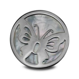 LOCKits Zilverkleurige Vlinder Munt met Parelmoer 33mm