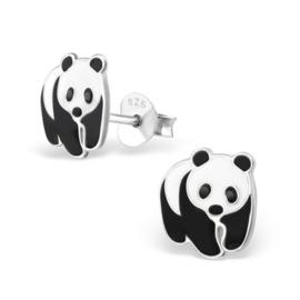 Panda Beer Oorbellen van Zilver