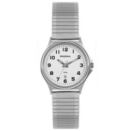 Prisma Edelstalen Klassiek Dames Horloge met Witte Wijzerplaat