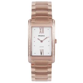 Rechthoekig Roségoudkleurig Dames Horloge met Sierdiamanten