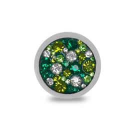 LOCKits Zilverkleurige Munt met Witte en Groene Zirkonia's 25mm