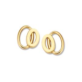 Excellent Jewelry Geelgouden Opengewerkte Dubbele Ovaal Oorstekers