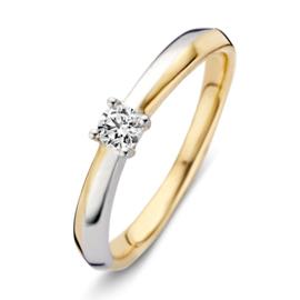 Excellent Jewelry Bicolor Ring met 0,19 crt. Briljant