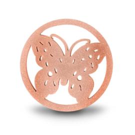 LOCKits Roségoudkleurige Vlinder Munt van Edelstaal 33mm