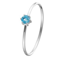 Slanke Ring van Witgoud met Blauwe Topaas Edelsteen