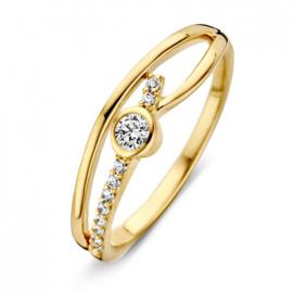 Excellent Jewelry Geelgouden Fantasie Ring met Zirkonia's voor Dames