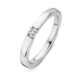 Excellent Jewelry Witgouden Dames Ring met 0,05crt. Diamant