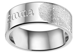 Edelstalen Ring met Vingerafdruk van Names4ever