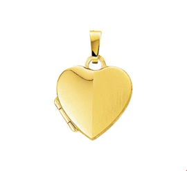 Gouden Foto Medaillon in de Vorm van een Hart met Gepolijste en Matte Bewerking