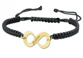 Gouden Infinity Shamballa Armband GNA06-zwart > Names4ever