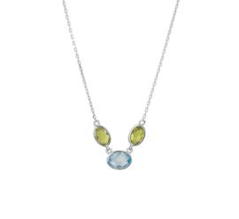 Zilveren Collier met Blauwe Topaas en Peridot Edelstenen