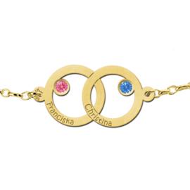 Dubbele Cirkel Gouden Moeder en Dochter Geboortesteen Armband > Names4ever