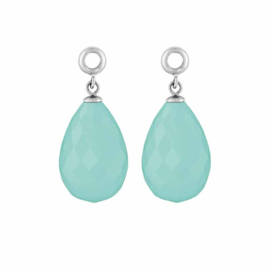 Creoli Hangers met Cat's Eye Baby Blue Facetgeslepen Glasbedel