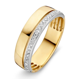 Excellent Jewelry Brede Bicolor Ring met Slanke Diamant Rij