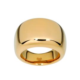 Brede Goudkleurige Bolstaande Ring van Edelstaal van M&M