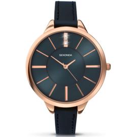 Robuust Roségoudkleurig Sekonda Horloge voor Dames met Blauwe Wijzerplaat