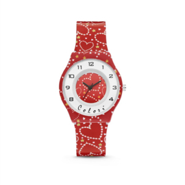 Rood Kids Horloge met Witte Hartjes van Colori Junior