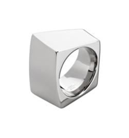 Vierkante Zilverkleurige Ring van Edelstaal van M&M