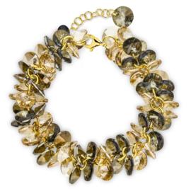 Spark FrouFrou Vergulde Armband met Schitterende Bronze Shadow Glaskristallen