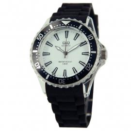 Horloge met zwart rubberen band / Q&Q Horloge