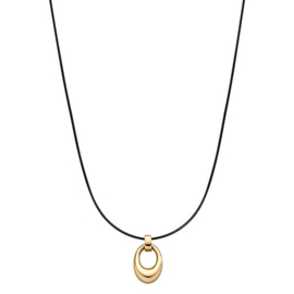 Zwart Collier met Goudkleurige Ovaalvormige Hanger van M&M